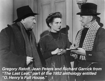 "Gregory Ratoff, Jean Peters and Richard Garrick from ""The Last Leaf,"" part of the 1952 anthology entitled ""O. Henry's Full House."""